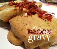 Rich country gravy made from bacon drippings served over biscuits or toast. I grew up on bacon gravy & biscuits. Linda's comment: My mom made the BEST EVER! Bacon gravy remains my all-time fav even today :) All You Need Is, Just In Case, Breakfast Dishes, Breakfast Recipes, Breakfast Gravy, Sunday Breakfast, Christmas Breakfast, Food Styling, Mayonnaise