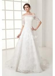 My new favorite!!! Free Shipping A Line Off Shoulder Lace Wedding Dress with Sleeve