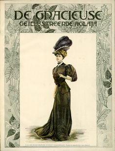 [De Gracieuse] Tailor-made bezoek-toilet. Groen lakenstof, kraag en manchetten van fluweel (April 1907)