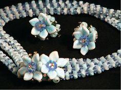 Vendome Light Blue Triple Strand Choker & Clip Earring Set