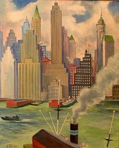 "Ernest Fiene Lithograph ""'Waterfront' Manhattan"" 1931"