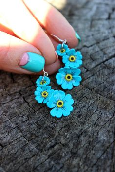 Items similar to Forget-me-not jewelry, little flowers earrings, 925 silver, Polymer clay earrings on Etsy Polymer Clay Flowers, Fimo Clay, Polymer Clay Projects, Quilling Earrings, Polymer Clay Earrings, Paper Earrings, Diy Fimo, Terracotta Jewellery Designs, Bee Jewelry