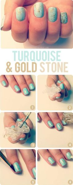 Nails are patterned with turquoise and gold