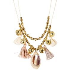 Chan Luu Layered Bell, Tassel, & Cowrie Shell Necklace (€44) ❤ liked on Polyvore featuring jewelry, necklaces, cream mix, layered beaded necklace, beaded necklaces, tassel necklace, multi layer necklace and double strand beaded necklace