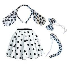 Girls Spotty Skirt Dalmatian Costume