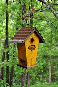 Rustic Hanging Wren Birdhouse  The Villa by RebeccasBirdGardens,