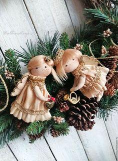 Новогодний интерьер. Текстильные подвески. Елочные игрушки ручной работы. Новый год. Винтаж. Рождественский ангел.