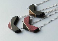 Wooden chevron necklace