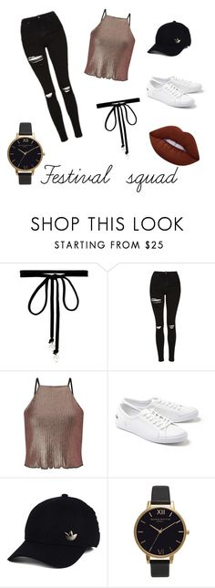 """Sans titre #1"" by raph-covet ❤ liked on Polyvore featuring Joomi Lim, Topshop, Miss Selfridge, Lacoste, adidas, Olivia Burton and Lime Crime"