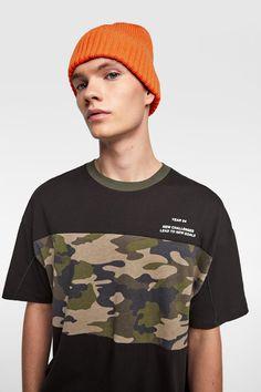 Mens Tee Shirts, Polo T Shirts, Camouflage T Shirts, Tee Shirt Designs, Zara Man, Young Fashion, Kids Wear, Sports Women, Neck T Shirt