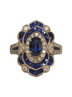 Art Deco 18KT White Gold French Cut Deep Blue Sapphire & Diamond Ring