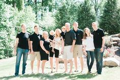 What to wear for large family photos, neutral color extended family portraits in Charlotte, NC