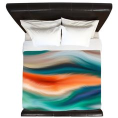 Abstract Teal Orange Green Blue Duvet Cover