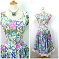 Vintage 1950's Cotton Dress floral polished. Omg. I love the way the dresses used to be fitted.