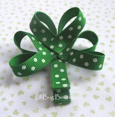 LiliBug Green Dot Irish Shamrock Hair Clip by LiliBugBoutique, $5.50