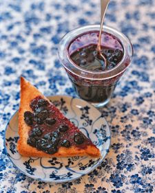 2-ingredient Blueberry Jam. (only 4 cups blueberries and 3.5 cups sugar)...cooked down, it makes about 3 cups jam. Might be a sweet, little, no-pressure recipe to try!