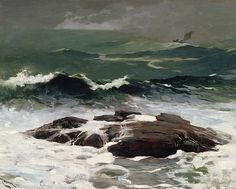 """""""Summer Squall,"""" Winslow Homer, oil on canvas, 24 x 30 The Clark Art Institute. Winslow Homer Paintings, Oil On Canvas, Canvas Art, Big Canvas, Clark Art, Illustrations, Artist Painting, American Artists, American Realism"""