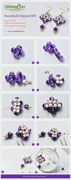 Pandahall Original DIY - How to Make a Pair of Purple Rhombus Glass Bead Drop Earrings from LC.Pandahall.com