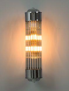 Aplique pared, tubo cristal rallado metal cromo