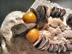 OOAK- Clam graduated clam shell trade beads, 3 sizes; copal amber tibet beads and sandstone old bead