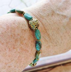 $41.40 Turquoise and Gold Bracelet Modern Gemstone Bracelet, Boho Chic Summer Jewelry by BlueWorldTreasures