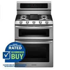 KitchenAid 30-in 5-Burner 2.5 cu ft/4.2 cu ft Double Oven Convection Self-Cleaning Dual Fuel Range (Stainless Steel)