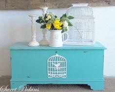 Turquoise painted furniture.