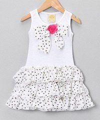 Loving this Mia Belle Baby White Polka Dot Bow Ruffle Dress - Toddler & Girls on Little Girl Outfits, Little Girl Fashion, Little Girl Dresses, Fashion Kids, Kids Outfits, Girls Dresses, Cute Outfits, Ruffle Dress, Baby Dress