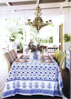 I love blue and white.  Makes me think of a cool place on a hot summer day.