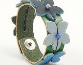 Leather Cuff Bracelet Blue Flowers Small