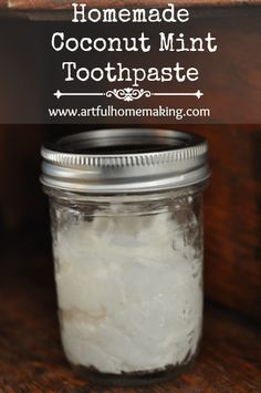 Make your own natural and healthy homemade coconut mint toothpaste with this easy recipe. Simple, natural, easy-to-make toothpaste.