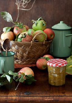 Apple Harvest Time ~ Basket of Ripe Apples, Jar of Chutney & Enamel Pots . Country Women, Country Life, Country Living, American Country, Vibeke Design, Harvest Time, Apple Harvest, Bountiful Harvest, Kitchen Colors