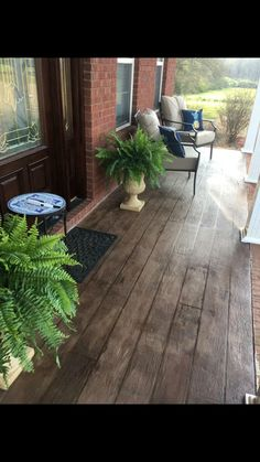 Stamped/stained wood look concrete Wood Stamped Concrete, Concrete Front Porch, Wooden Decor, Concrete Floors, Porch Ideas, Patio Ideas, Architecture Details, Garage Addition, Backyard