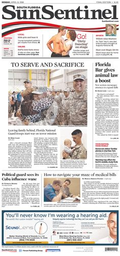 #20160411 #USA #Florida #FtLauderdale Monday APR 11 2016 #SouthFloridaSunSentinel #SunSentinel20160411 http://www.newseum.org/todaysfrontpages/?tfp_show=80&tfp_page=2&tfp_id=FL_SS