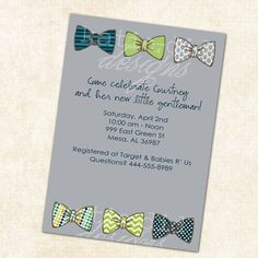 baby boy shower invitation with bow ties, little gentleman theme, digital, printable file  Etsy.