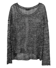 Mixed colour hollow loose pullover with paillette