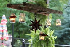 DIY Earthy Outdoor Chandelier