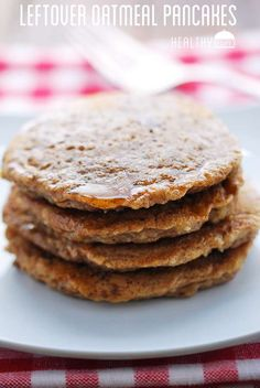 Nutty, wholesome leftover oatmeal pancakes.