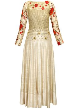 Ivory floral and jaal embroidered anarkali set available only at Pernia's Pop-Up Shop.