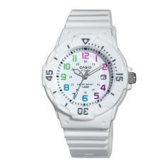 $18.47 white watch with a resin band. Perfect for Nursing. Has the date, second hand, military time, glow in the dark hands, is waterproof, and has a bidirectional rotating bezel to help you take an accurate pulse. Very cute.