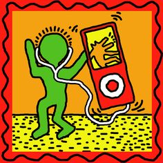Keith Haring Man and Ipod, This Could Defiantly Could Be a Contour Art !!