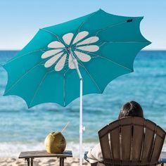 c2407577969c Ammsun 2017 10 Panels Polyester Fabric Heavy Duty Beach Umbrella, Adjustable  Height, Hollow Pattern with Tilt UPF Teal /white