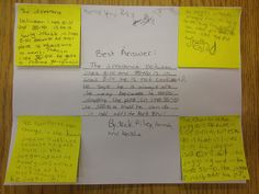 Four corners post-its, one from each student, then they create the best answer in the center. omg great!