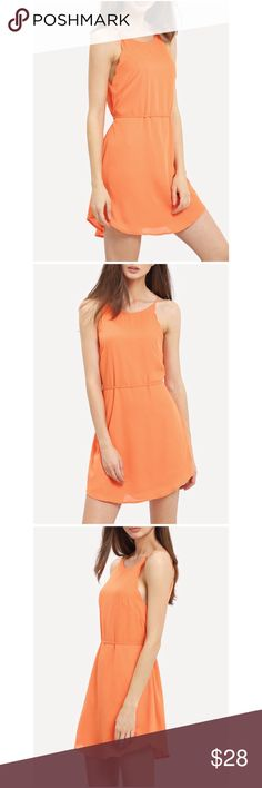 """Orange strappy scallop sleeveless mini dress Pretty chiffon-like polyester strappy sleeveless dress with scalloped trim detail at top. Tie waist & scoop bottom hem. Deeper orange than the stock photos (see last pic)! Beautiful party dress or tailgate/game day outfit for Auburn, Clemson, Florida, Miami, Tennessee, & more! Size S: 32"""" length, up to 36"""" bust. Size M (37"""" bust, 32""""L) & L (38.5"""" bust, 32.5""""L). 😱Limited stock - get yours now! No trades/holds/lowballs. Dresses Mini"""