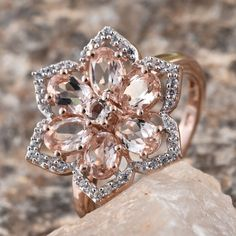 Marropino Morganite, White Zircon RG Over Sterling Silver Flower Ring (Size TGW cts. Morganite Jewelry, Tanzanite Jewelry, Jewelry Showcases, Sterling Silver Flowers, Gold Jewelry, December, Rose Gold, Lovers, Pure Products