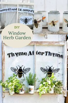 How to Make an Upcycled Window Herb Planter Outdoor Projects, Diy Projects, Outdoor Decor, Herb Planters, Flea Market Style, Dollar Tree Crafts, Unique Gardens, Garden Features, Diy Room Decor