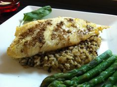 DJ Dave Diner 3/10 Pecan Balsamic Tilapia w/Honey Butter - Wanted every taste bud to be serenaded tonight, so combined the sourness of balsamic, with sweet butter and honey, the nuttiness of pecans and brown rice and quinoa, and a touch of salty bitters. How to take something simple, and make it slightly exotic.
