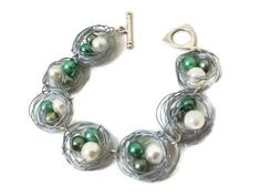 Glass Pearl & Wire Nest Bracelet by BeadoRama123 on Etsy, £6.00