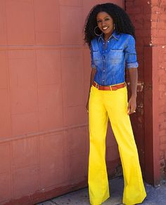 Invest in a bright pair of wide-leg trousers.