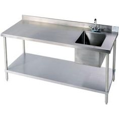 industrial stainless steel workbench with built-in sink would be great for garden shed